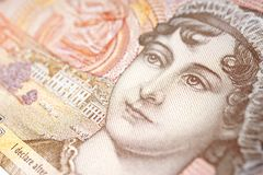 Ten Pound Note With Portrait. Closeup detail of UK ten pound note pound with portrait of Jane Austen stock image