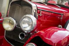 Closeup Detail of the vintage retro car on the city street royalty free stock image