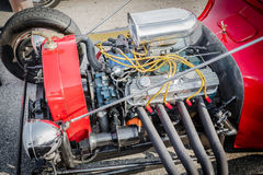 closeup detailed view of old classic retro vintage hot rod car engine Royalty Free Stock Photography