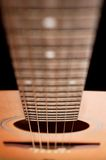 Closeup details of an acoustic. Wooden guitar stock images