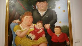 Closeup details of Botero`s surrealist family oil and acrylic paint stock footage