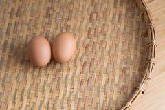 Closeup details of Brown rice  in bamboo back grounds. Selective focus Stock Photos