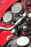 Motorcycle cockpit - revs and mileage gages closeup Royalty Free Stock Photo