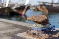 Details of the fishing harbour in Abu Dhabi. Closeup details of the fishing harbour in Abu Dhabi, old and grungy look Stock Photography