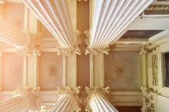 Closeup of details of Kazan Cathedral colonnade and ceiling lit by soft sunshine in Saint-Petersburg, Russia. Stock Photo