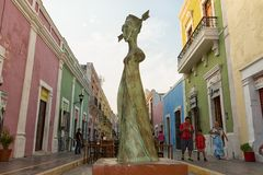 Closeup details of a Leonore Carrington statue in Campeche Mexico stock images