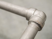 Closeup details seal welded joint in stainless pipeline for gas Royalty Free Stock Photography