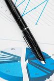 Closeup of diagrams with a pen Royalty Free Stock Photos