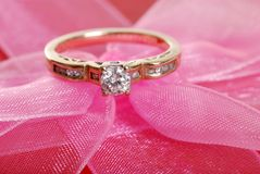 Closeup Diamond Ring On Pink Lace Royalty Free Stock Photo