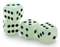 Dices over white background. Closeup of dices over white background Royalty Free Stock Photos