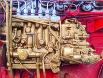 Closeup Diesel engine Royalty Free Stock Images
