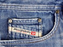Closeup of Diesel jeans pocket stock photography