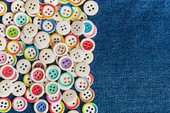 Closeup different Buttons with blue jeans Stock Photo