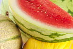 Closeup of different melons. Stock Photo