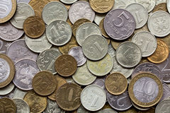 Closeup of different russian coins Royalty Free Stock Photography
