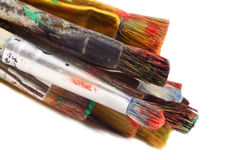 Closeup of different size paintbrushes, artist tools, isolated Stock Image