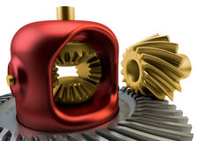 Closeup Differential gear isolated Stock Photo