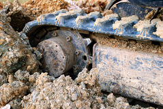 Closeup of digger's tracks in mud Stock Photography