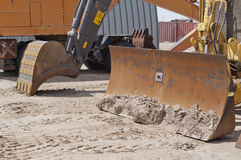 A closeup of digging bucket on hydraulic power equipment Stock Photos