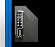 Closeup of a digital padlock. In a modern locker room stock photos