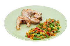 Closeup of Dinner Plate with Grilled White Fish Stock Photography