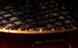Closeup of dirty and burnt barbecue grill grates. Risk factor of cancers. Unhealthy food. Full of foods stains on barbecue grill. Grates. Carcinogen. Acrylamide royalty free stock photos