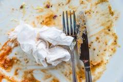 Closeup dirty dish Stock Images