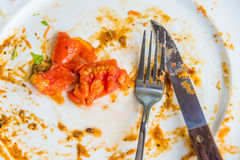 Closeup dirty dish with tomato Royalty Free Stock Image