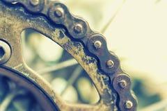Closeup of dirty motorbike chain. Royalty Free Stock Photos