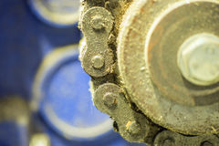 Closeup dirty ratchet gear with chain drive Stock Images