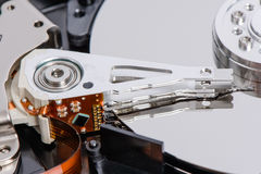 Closeup of disassembled Hard disk drive. Royalty Free Stock Images