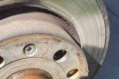 Closeup disc brake of the vehicle for repair. Detail image of car brakes royalty free stock images