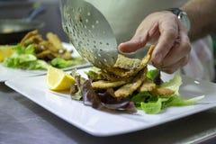 Appetizer of sardines and salad stock photos