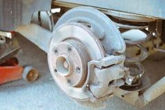 Closeup of disk and brake block beside jackscrew Stock Photography