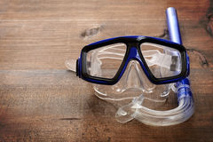 Closeup diving mask and snorkel. On wood Stock Image