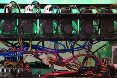 Closeup of DIY crypto mining rig royalty free stock image