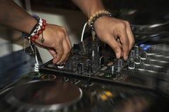 DJ mixing music Stock Photos