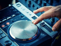 Closeup of dj controller - selective focus Royalty Free Stock Photo