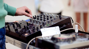 Closeup on dj mixer. On preparty Stock Photography
