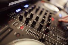 Closeup of DJ sound equipment mixer Royalty Free Stock Photos