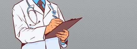 Closeup Of Doctor Hold Clipboard Making Notes Write Diagnosis Or Prescription Horizontal Banner With Copy Space. Vector Illustration Stock Images