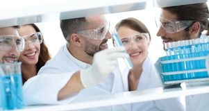 Closeup of a doctor-pharmacists and colleagues working in the laboratory. Royalty Free Stock Image