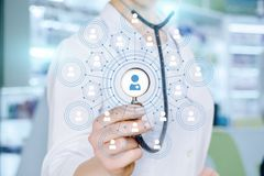 A doctor operating with social medical service scheme royalty free stock photos