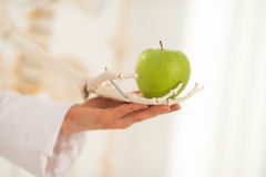 Closeup on doctor woman with human skeleton hand holding apple Royalty Free Stock Images