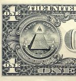 Closeup of a dollar bill with all seeing eye.  royalty free stock photos