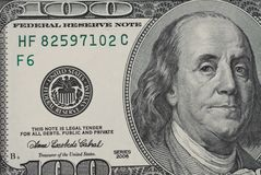 Closeup of 100 dollar bill royalty free stock photos