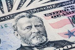 50 dollar bill with Ulysses S. Grant portrait. Closeup of 50 dollar bill with Ulysses S. Grant portrait stock photos