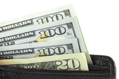 Closeup the dollars in wallet Royalty Free Stock Photos
