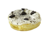 Closeup donut with white icing and chocolate cookies topping isolated on whith Stock Photography