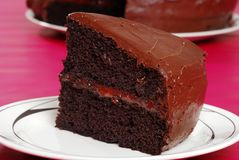 Closeup of double chocolate cake Royalty Free Stock Images